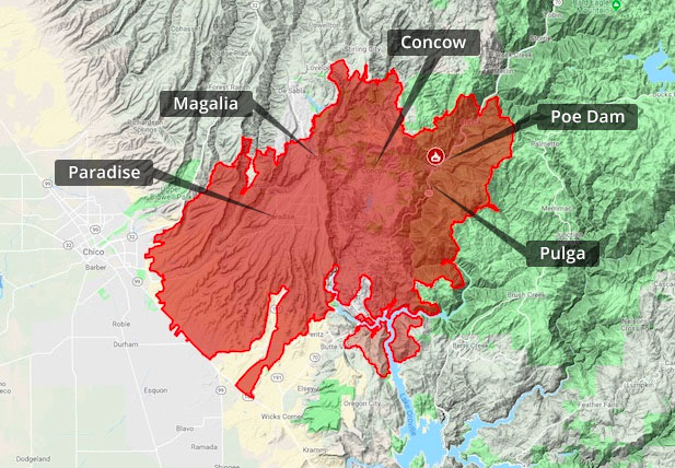 Camp Fire Map, Butte County, PG&E Lawsuit